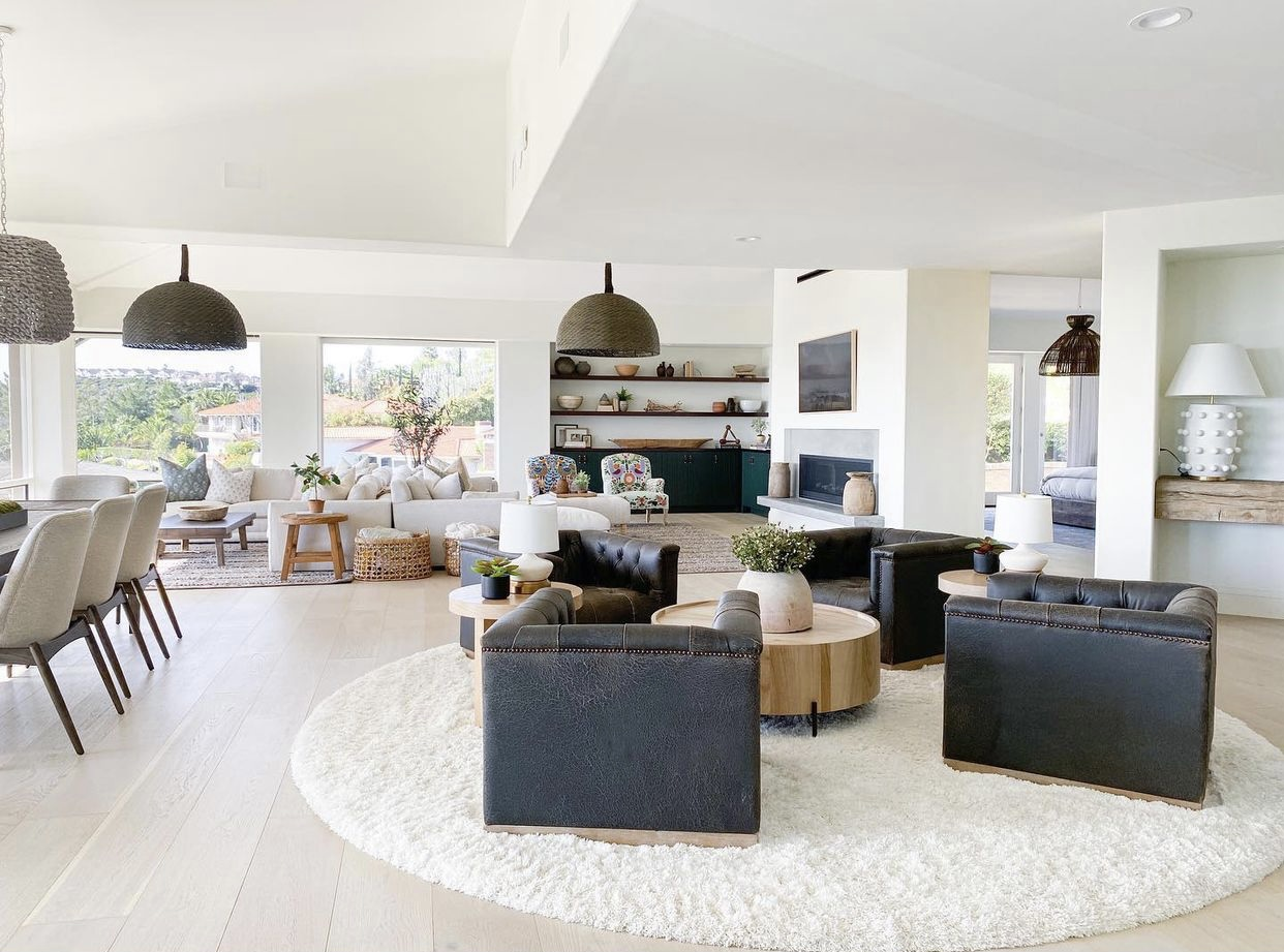 Open Floor plan with California coastal style furniture with an earthy neutral color palette.